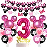 Minnie Themed Party Decorations Supplies 3rd Birthday Minnie Balloons Cake Topper for Girls 3 Birthday