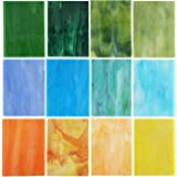 Lanyani (10 Sheets) Variety Stained Glass Sheets Pack, 4 x 6 inch Large Cathedral Glass Mosaic Tiles for Crafts, Mixed Opaque