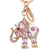 Reizteko Lucky Elephant Colorful Opal Rhinestone Plating Women Car/Bag Keychain Purse Charm - Pink