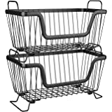 LOTTS Stackable Metal Storage Organizer Bin Basket with Handles, Open Front for Kitchen Cabinets, Pantry, Closets, Bedrooms,
