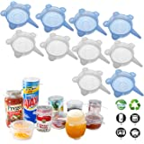 Silicone Stretch Lids (10 Pack, All 2.6inch), Adpartner BPA-Free Seal Can Covers, Reusable Silicone Lids for Regular Mason Ja