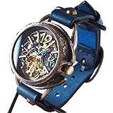 KINO(キノ)手作り腕時計 自動巻き 裏スケルトン ナイン SUN&MOON(受注制作) (ブルー)
