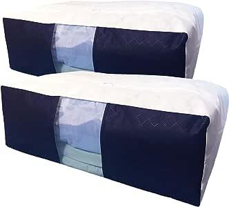 InikoLife 布団 収納 ケース 2枚組 タテ型ファスナー式 掛け 敷布団 用 収納袋 大容量 クリア窓付 活性炭シート入 掛け 敷布団をまとめてスッキリ 布団がファスナーにはさまりにくいファスナーカバー付き 通気性に優れた不織布製 日本メーカー企画 (スッキリ藍色シリーズ)