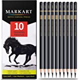 Professional Charcoal Pencils Drawing Set - MARKART 10 Pieces Soft Medium and Hard Charcoal Pencils for Drawing, Sketching, S