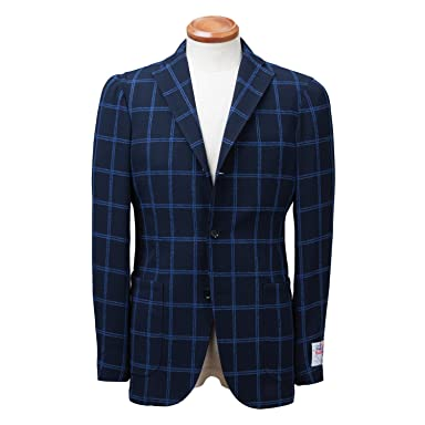 New Balloon Wool Plaid Jacket BYJ-05: Navy