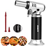 Semlos Butane Torch, Kitchen Torch Refillable Blow Torch Lighter with Adjustable Flame & Gas Window Gauge for Baking, Brulee
