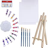 Art Canvas Paint Set Supplies – 22-Piece Canvas Acrylic Painting Kit with Wood Easel, 8x10 inch Canvases, 12 Non Toxic Washab