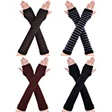 Bememo 4 Pairs Winter Long Fingerless Gloves Knitted Arm Warmer Elbow Length Gloves Thumb Hole Gloves for Women Girls