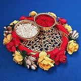 DECORATIVE BUCKETS: Designer Pooja THALI Set |Traditional KUMKUM ROLI CHAWAL THALI |Wedding Tilak thali | Diwali Pooja thali|
