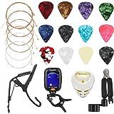 Avenda Guitar Accessories Kit, 25 in 1 Include Acoustic Guitar Strings, Picks, String Winder, Guitar Bridge Nut & Saddle,Brid
