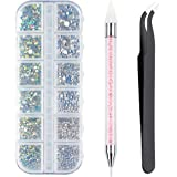 Crystals AB Nail Art Rhinestones Nail Stones for Nail Art Supplies and Clear Crystal Rhinestones with Pick Up Tweezer and Rhi