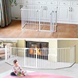 3-in-1 Super Wide Adjustable Baby Safety Gate and Play Yard Pet Playpen - Multiple Size 8 Panels - 496cm