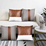 cygnus Decorative Throw Pillow Covers 18x18 Inch Faux Leather Stitching White Canvas and Black Stripe Pattern Modern Farmhous