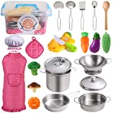 Juboury Kitchen Pretend Play Toys with Stainless Steel Cookware Pots and Pans Set, Cooking Utensils, Apron & Chef Hat, Cuttin