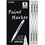 White Marker, 6 Pack 0.7mm Acrylic White Permanent Marker White Paint Pens for Wood Rock Plastic Leather Glass Stone Metal Ca