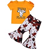 Toddler Kids Baby Girls Outfit Set Cartoon Cow Print Pullover Shirt Top Bell-Bottom Flared Pants Summer Clothes Set