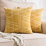 MIULEE Pack of 2 Decorative Throw Pillow Covers Woven Textured Chenille Cozy Modern Concise Soft Square Cushion Shams for Bed