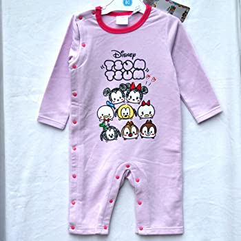 67651ad85d98b (ディズニー)Disney ディズニーベビー子供服 ツムツム ミッキー&ミニー プレオール サイズ:80(ピンクパープル)