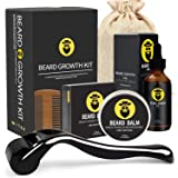 Beard Growth Kit - Derma Roller for Beard Growth, Beard Growth Serum, Sanitizer and Comb, Stimulate Beard and Hair Growth & O
