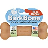 Pet Qwerks REAL BACON Infused BarkBone - Durable Toys for Aggressive Chewers, Tough Indestructible Extreme Power Chewer Bones