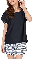 [COTARON] 水着 レディース 体型カバー タンキニ カバーアップ オーバーTシャツ ショートパンツ 4点セット