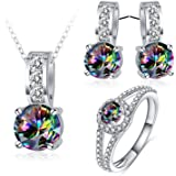 Daesar Women Colorful Cubic Zirconia Necklace Earrings Ring Jewelry Set Wedding Bands
