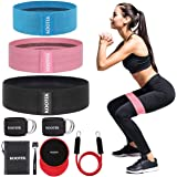 Kootek 10 Pieces Resistance Loop Bands Set - Workout Bands for Leg and Butt Training High Elasticity Exercise Band with Door
