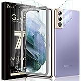 Tauri (タウリ) Samsung Galaxy S21 Plus 5G (6.7インチ) 対応 強化ガラス製スクリーンプロテクター3枚 + カメラレンズプロテクター3枚のセット 取り付け簡単 高精細 クリア 気泡防止