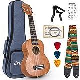 Ukulele Mahogany Ukelele Ukele for Professional Player Beginners Uke Starter Kit with Carring Gig Bag Strap Strings Capo Pick