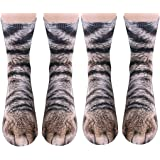3D Socks Unisex Adult Big Kids Animal Paw Crew Socks - Sublimated Print