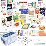 Birthday Card, 160 Pack 40 Designs Happy Birthday Card Assorted Bulk with 160 Blank Envelopes 168 Pieces of Stickers 6 Washi