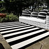 Black and White Cotton Outdoor Rug, 5'x8' Soft Striped Area Rug Woven Washable Farmhouse Durable Carpet Mat for Patios Cleara