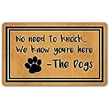 DoubleJun Funny Doormat No Need to Knock We Know You're Here Entrance Mat Floor Rug Indoor/Outdoor/Front Door Mats Home Decor