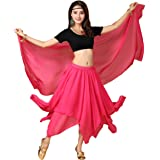 Lauthen.S Women Belly Dancing Costume Set,Halloween Tribal Tops Chiffon Skirt Veil Outfit 3pcs