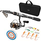PLUSINNO Spinning Rod and Reel Combos Full KIT Telescopic Fishing Rod Pole with Reel Line Lures Hooks Fishing Carrier Bag Cas