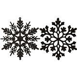 Sea Team Plastic Christmas Glitter Snowflake Ornaments Christmas Tree Decorations, 4-inch, Set of 36, Black