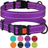 CollarDirect Reflective Dog Collar,SafetyNylon Collars Dogs Buckle,Outdoor Adjustable Puppy Collar Small Medium Large (Nec