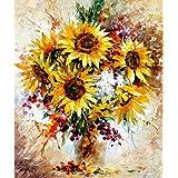 LovetheFamily 数字油絵 数字キット塗り絵 手塗り DIY絵 デジタル油絵 カラフルな花 40x50 cm ホーム オフィス装飾