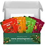 Amazin' Graze Nut Mix Variety Box 8 Pack/30g - Healthy Mixed Nuts On-The-Go Snacks - Coconut Curry Lime, Sweet Chilli, Pandan