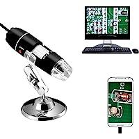 Jiusion 40〜1000x倍率内視鏡、8 LED USB 2.0デジタル顕微鏡、OTGアダプタとメタルスタンド付き…