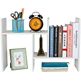 PAG Adjustable Desktop Bookshelf Assembled Countertop Bookcase Office Supplies Wood Desk Organizer Literature Display Rack, W