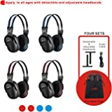 4 Pack of DVD Wireless Headphones, Car Kids Headphones, IR Headphones for Car Entertainment System, Wireless IR Headphones wi