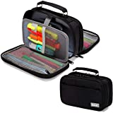 Pencil Case,VASCHY Large Pencil Pouch with Compartments for Middle School,Work,Office Pen Organizer Holder School Supply Blac