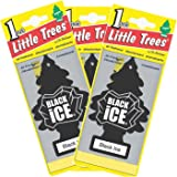 LITTLE TREES Car Air Freshener | Hanging Paper Tree for Home or Car | Black Ice | 3 Pack