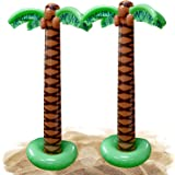 Kicko Inflatable Palm Tree - Pack of 2, 66 Inches Inflate Luau Decoration Tree for Hawaiian or Summer Poolside Parties, Beach