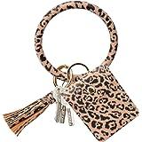 COOLANS Wristlet Bracelet Keychain Card Holder Card Pocket PU Leather Purse Tassel Keychain Bangle Key Ring for Women Girls