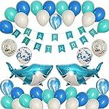JAYKIDS Shark Balloons Ocean Theme Party Supplies - Sea Animals Tattoo Sticker, Big Shark Foil Balloons, Happy Birthday Banne