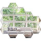 KimDaro Mirror Wall Stickers Non Glass Mirror Plastic Mirror 3D Hexagon Acrylic Mirror Wall Decor Self Adhesive Tiles (15 PCS