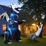 Twinkle Star 8ft Halloween Inflatable Yard Decorations Lighted Skeleton Dinosaur, Animated Blow Up Tyrannosaurus T-Rex Yard P