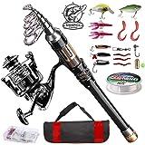 ShinePick Telescopic Fishing Rod Kit Spinning Rod Reel Combo Full Kit with Line Lures Hooks Carrier Bag for Travel Saltwater
